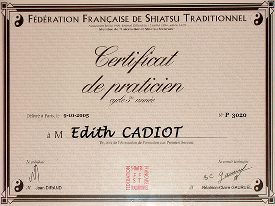 Certificat - Edith ANAHORY - Shiatsu Toulouse