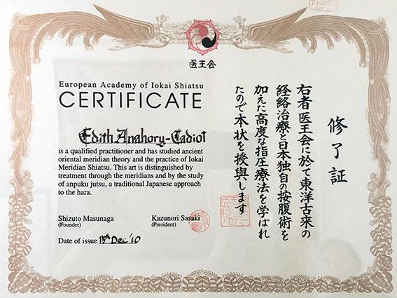 Certificat EAIS - Edith ANAHORY - Shiatsu Toulouse